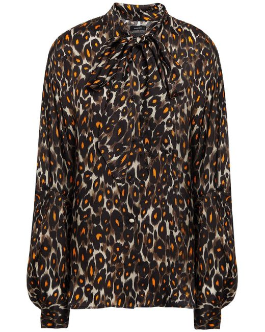 R13 Brown Tie-neck Leopard-print Cupro-satin Twill Blouse