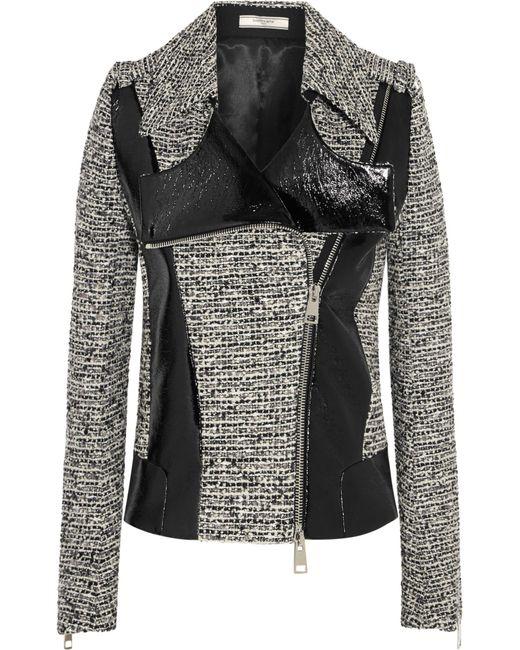Bouchra Jarrar | Black Wool-blend Tweed And Faux Patent-leather Jacket | Lyst