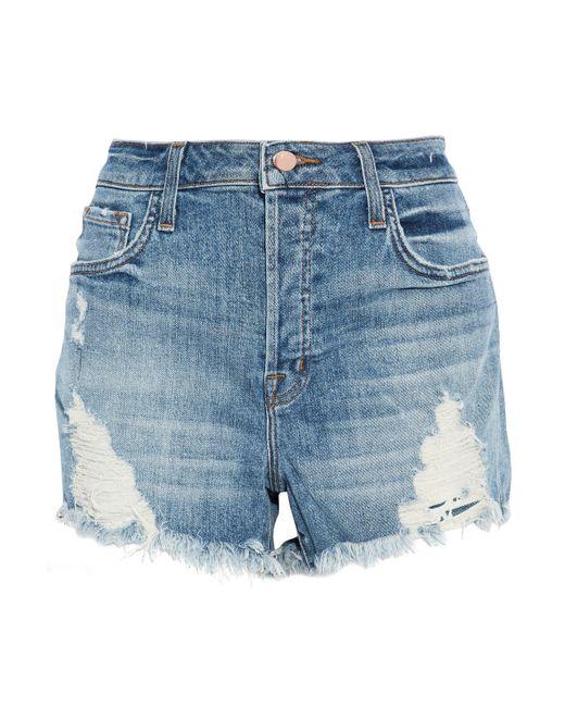 J Brand - Blue Distressed Faded Denim Shorts Mid Denim - Lyst