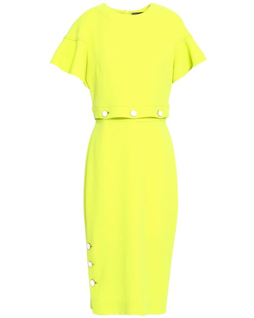Lela Rose Yellow Button-detailed Wool-blend Crepe Midi Dress Chartreuse