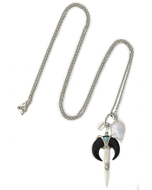 Chan Luu - Black Silver-tone, Faux Mother-of-pearl And Stone Necklace - Lyst