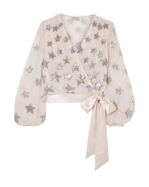 Temperley London Purple Starlet Satin-trimmed Sequined Georgette Wrap Blouse Lilac