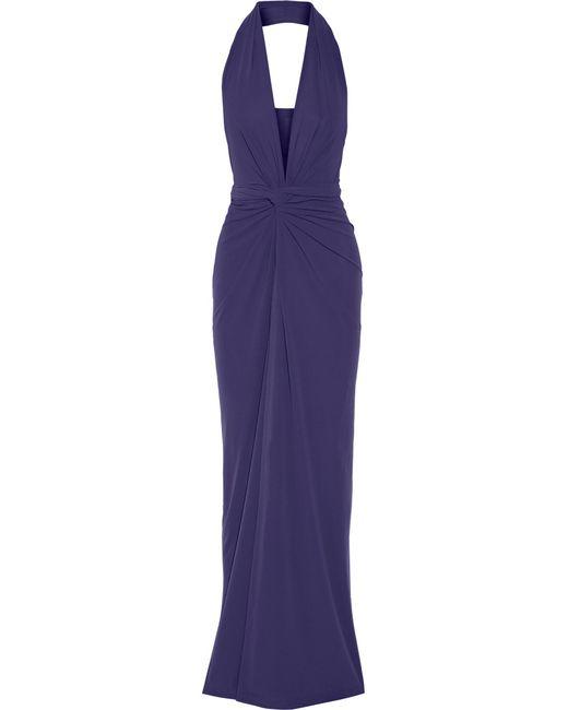 Norma Kamali   Blue Convertible Jersey Halterneck Wrap Dress   Lyst