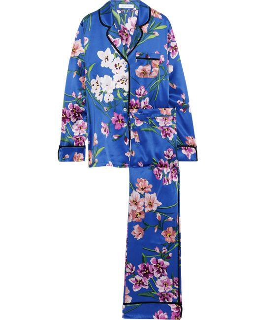 Olivia Von Halle - Blue Lila Briella Floral-print Silk-satin Pajama Set - Lyst