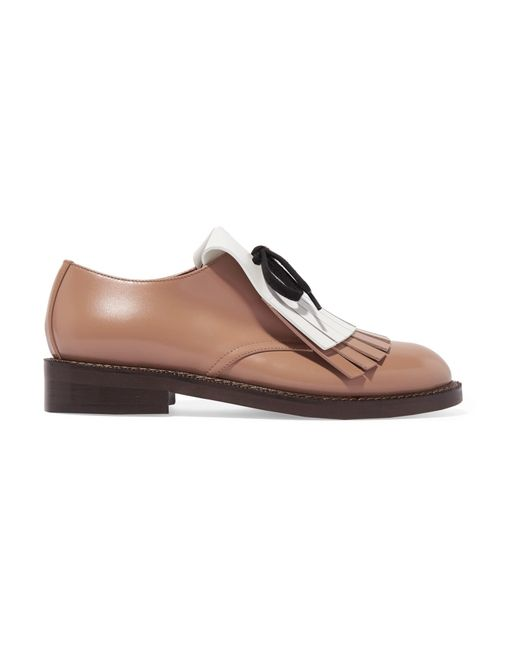 Marni | Brown Fringed Leather Brogues | Lyst