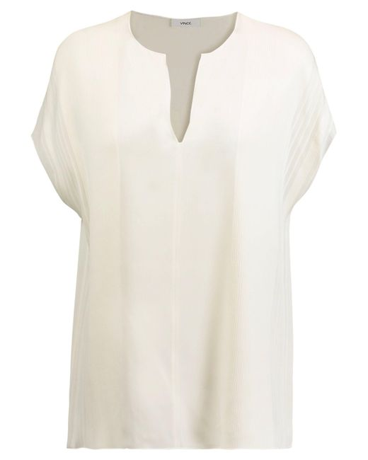 Vince - White Pintucked Silk-crepe Top - Lyst