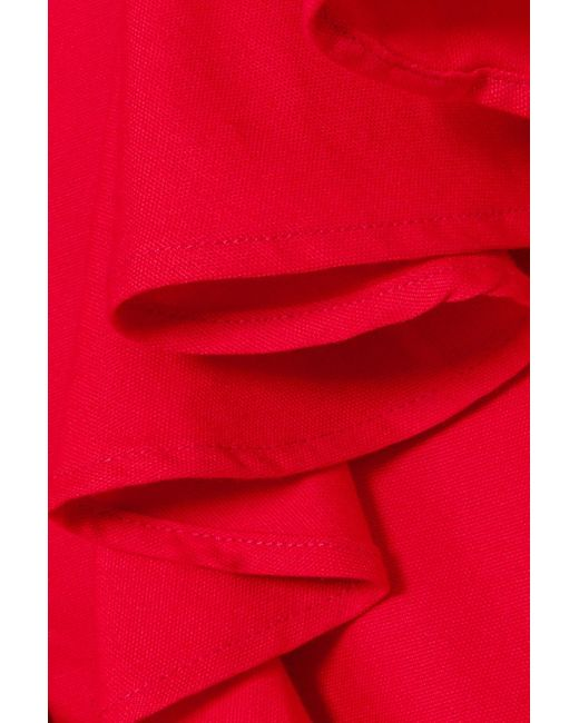 Mother Of Pearl Shay Ruffled Cotton-piqué Shirt Red