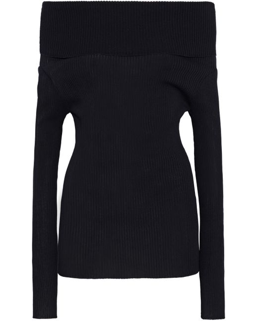 Giambattista Valli - Black Off-the-shoulder Ribbed Cotton-blend Sweater - Lyst