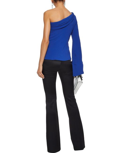 8a5139f067f ... Brandon Maxwell - Blue One-shoulder Pintucked Crepe Top - Lyst ...