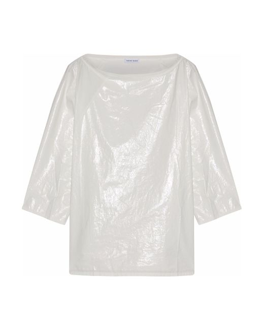 Tomas Maier - White Paneled Coated Cotton-poplin Top - Lyst