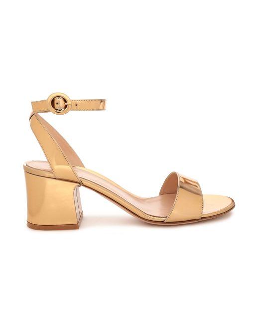 Gianvito Rossi Metallic Mirrored-leather Sandals Gold