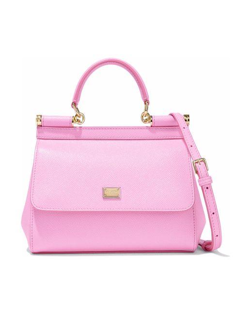 efc1d4451c91 Lyst - Dolce   Gabbana Woman Textured-leather Shoulder Bag Baby Pink ...