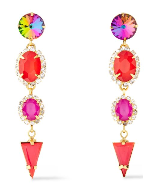Elizabeth Cole 24-karat Gold-plated Crystal Earrings Red