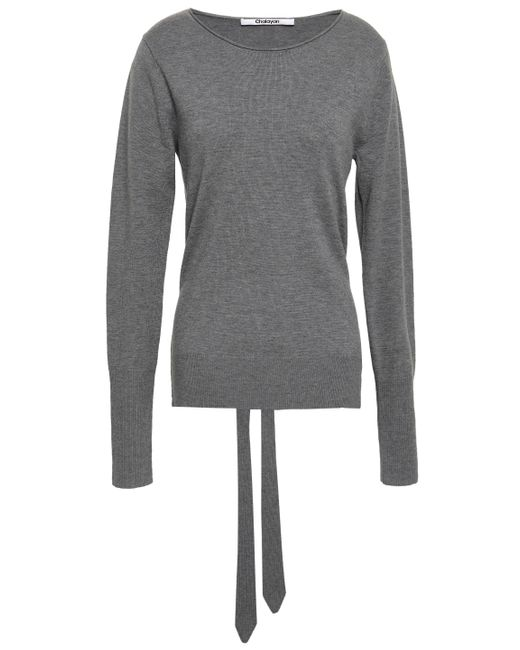 Chalayan Tie-back Cutout Wool And Cashmere-blend Sweater Gray