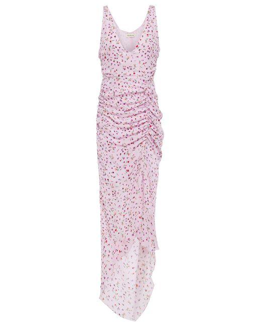 Nicholas Purple Asymmetrisches Kleid Aus Crêpe De Chine Aus Seide Mit Floralem Print Und Raffungen Größe 2