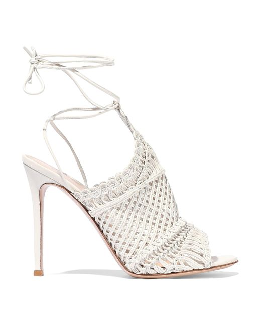 Gianvito Rossi - White Woven Leather Sandals - Lyst