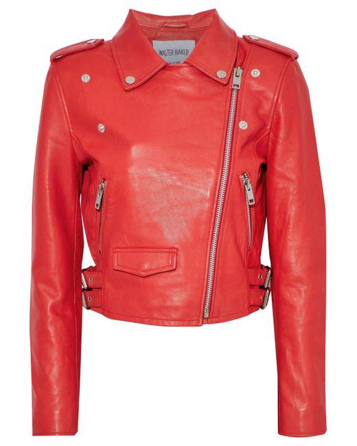 W118 by Walter Baker - Red Liz Leather Biker Jacket - Lyst