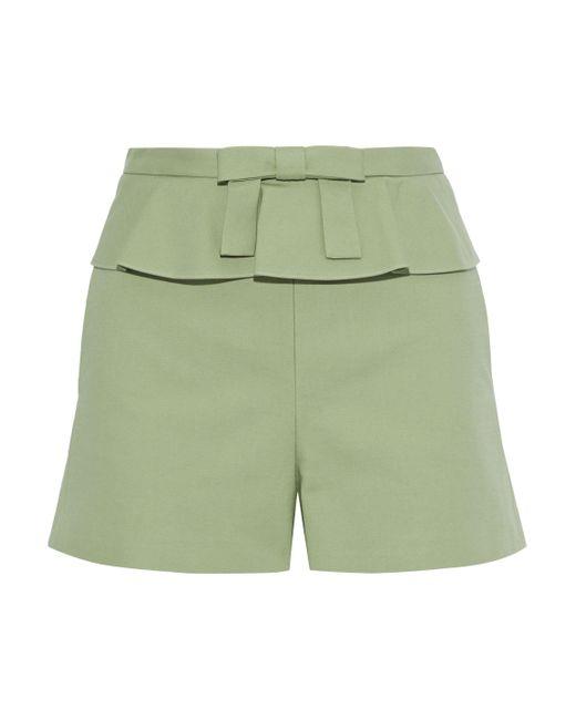 RED Valentino Bow-embellished Cotton-blend Peplum Shorts Leaf Green
