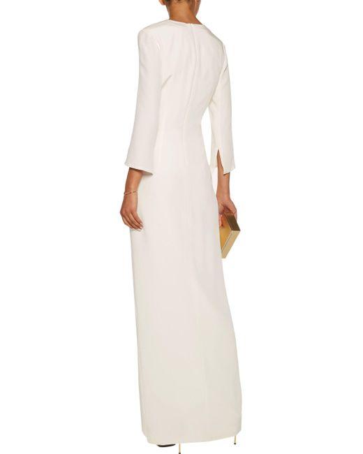 Lyst - Cushnie et ochs Chain-embellished Silk-crepe Gown in White
