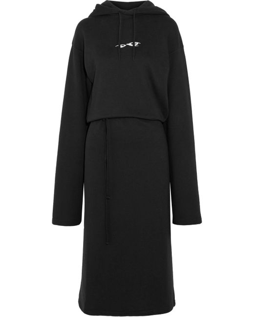 Vetements - Black Oversized Printed French Cotton-blend Terry Hooded Dress - Lyst