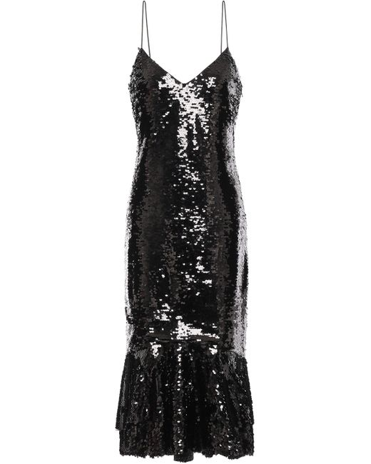 Sachin & Babi Evren Sequined Tulle Midi Dress Black