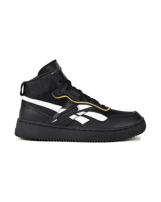 Reebok X Victoria Beckham Black Dual Court Mid Ii Canvas And Pebbled-leather High-top Sneakers
