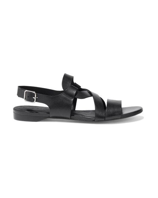Iris & Ink Black Mabel Leather Slingback Sandals