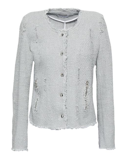IRO Multicolor Agnette Distressed Cotton Bouclé-tweed Jacket Stone