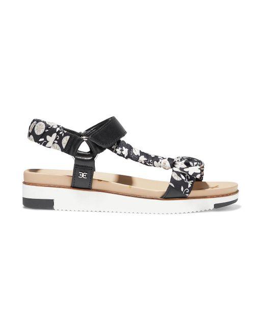 Sam Edelman Black Ashie Floral-print Satin-twill And Leather Platform Sandals