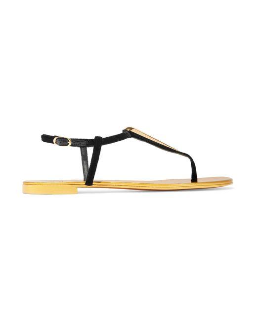 Giuseppe Zanotti - Black Embellished Suede Sandals - Lyst