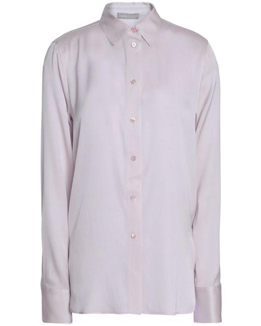Vince - Multicolor Woman Stretch-silk Crepe De Chine Shirt Pastel Pink - Lyst