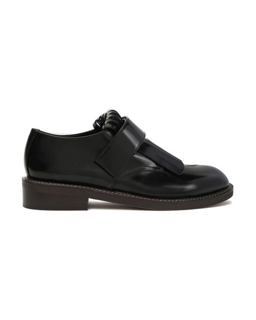 Marni Fringed Glossed-leather Brogues Black