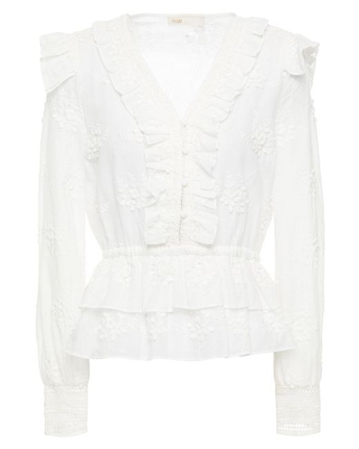 Maje White Loxana Ruffled Embroidered Cotton Blouse