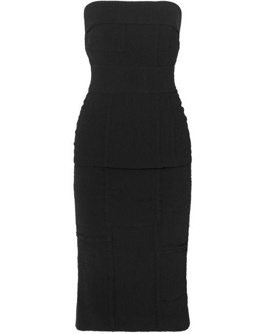 Tom Ford Strapless Embossed Stretch-crepe Dress Black