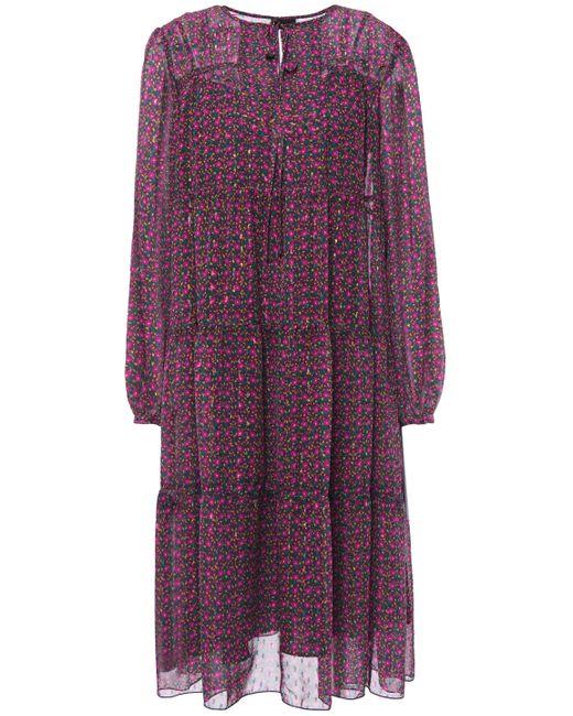 Anna Sui Purple Gathered Floral-print Metallic Fil Coupé Georgette Dress Grape
