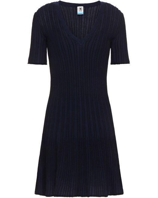 M Missoni Blue Striped Ribbed Cotton-blend Mini Dress