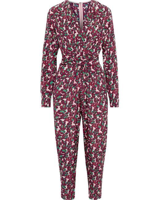 Stella McCartney Multicolor Jumpsuit Aus Crêpe De Chine Aus Seide Mit Floralem Print Und Gürtel Größe 44