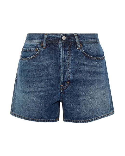Acne Blue Faded Denim Shorts Mid Denim