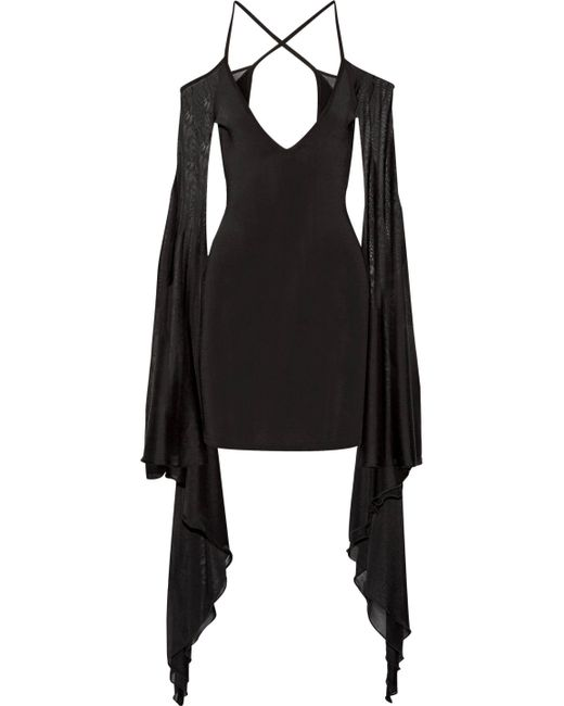 Balmain - Black Open-back Ruffled Stretch-knit Mini Dress - Lyst