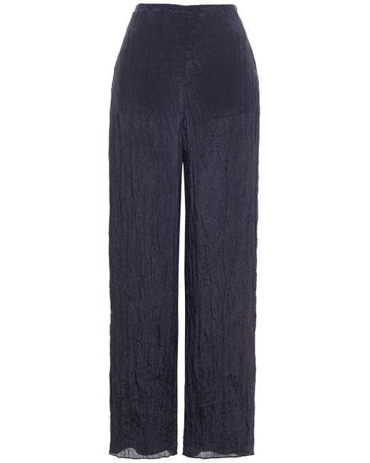 Vince Crinkled Satin Wide-leg Pants Midnight Blue