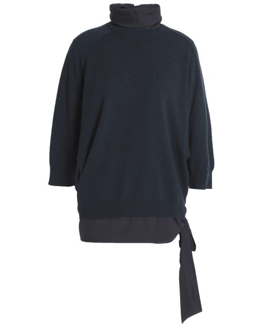 Brunello Cucinelli - Layered Cashmere And Silk-blend Turtleneck Sweater Midnight Blue - Lyst