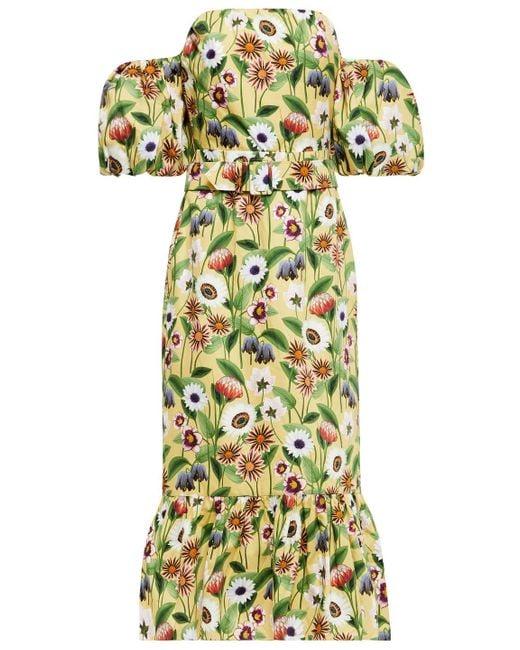 Borgo De Nor Aleila Off-the-shoulder Floral-print Cotton-poplin Midi Dress Pastel Yellow