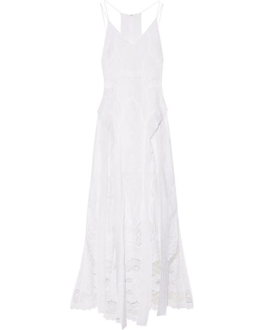Jonathan Simkhai - White Crochet-paneled Embroidered Cotton-voile Gown - Lyst