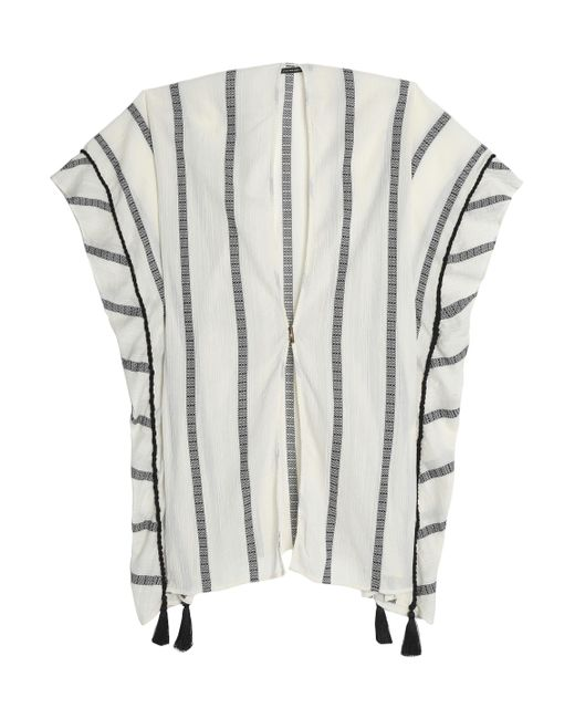 ViX - White Tasseled Striped Cotton-gauze Coverup - Lyst