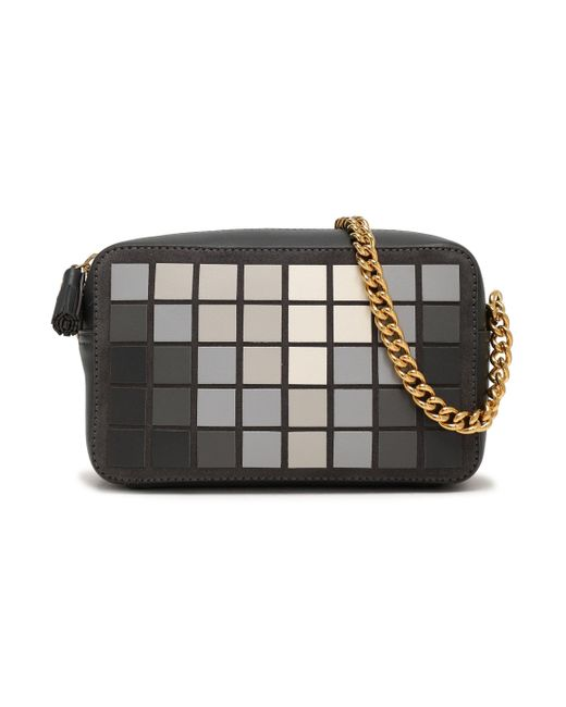 Anya Hindmarch - Gray Giant Pixel Appliquéd Suede And Leather Shoulder Bag Charcoal - Lyst