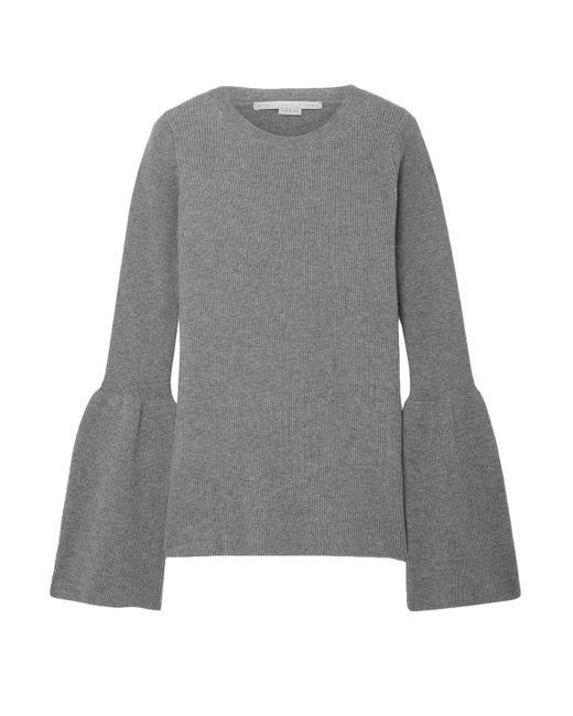 Stella McCartney Gray Bell-sleeve Ribbed Wool Sweater