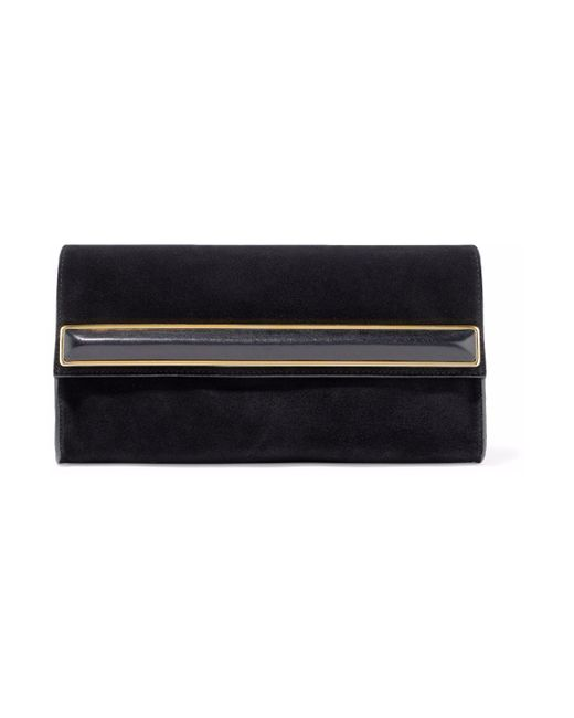 b1adc39523 ... Halston Heritage - Woman Leather-trimmed Embellished Suede Clutch Black  - Lyst