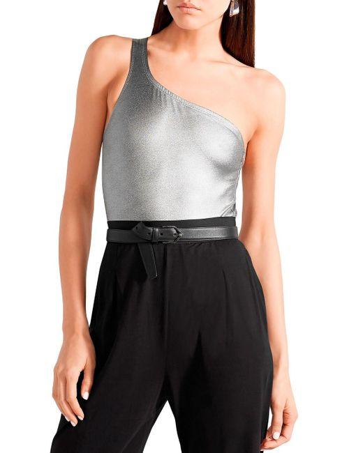 Isabel Marant Sage One-shoulder Cutout Metallic Stretch-jersey Bodysuit