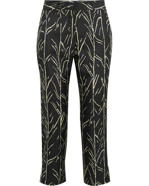 Proenza Schouler - Black Cropped Printed Silk-twill Straight-leg Pants - Lyst