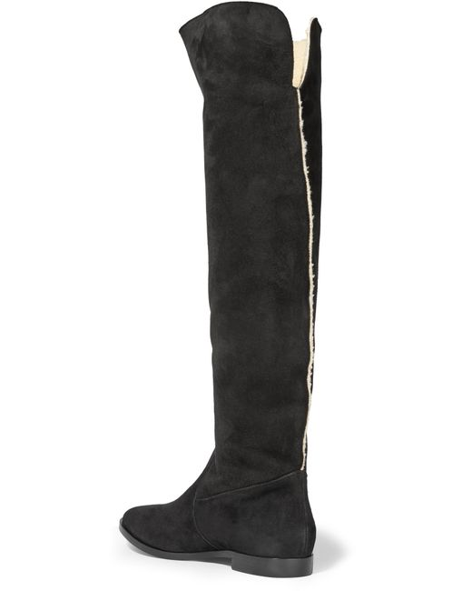 sergio suede knee boots in black lyst